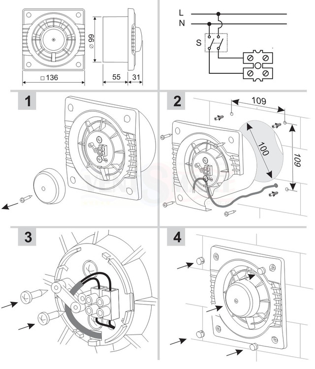 схема подключения осевого
