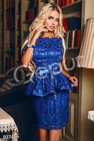 Вечернее кружевное платье со съемной баской коротким рукавом и подкладом в тон платья