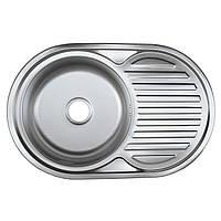 Мойка врезная овальная кухонная 7750 см Platinum полированная 0,8 мм глубина 18 см