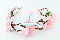 Ободок с цветами, розовый. Код 48995.