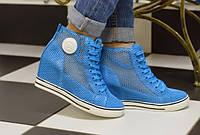 Д392 - Женские ботиночки сникерсы голубые сетка