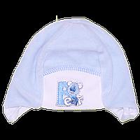 Детская велюровая шапочка с подкладкой (интерлок) и завязками, ТМ Мамина мода, р. 36, 38, Украина