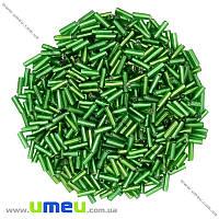 Бисер стеклярус, 6 мм, Зеленый блестящий, 25 г. (BIS-012052)