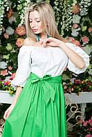 Платье в пол с поясом, юбка зеленая