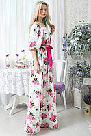 Весеннее цветное макси платье в пол