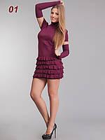 Платье рюш съемный рукав вино, фото 1