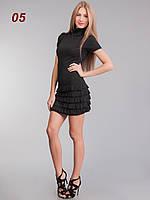 Платье рюш съемный рукав черное, фото 1