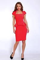 Шикарное красное платье с баской  модного кроя