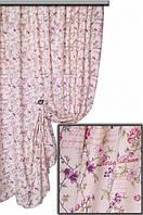 Ткань для штор, скатертей и оббивки мебели в стиле прованс, 70 % хлопок, сиренево-фиолетовый цветок