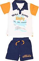 Костюм мальчику, оранжево-синий, футболка-поло и шорты, рост 98 см, 110 см, ТМ Фламинго