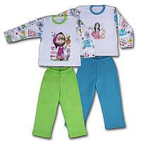 Детская демисезонная пижама с вышивкой на кофте и штаны, на рост - 116, 122, 128 см. (арт: 947)