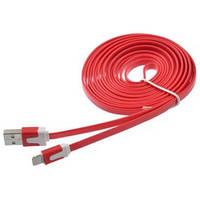 USB кабель плоский для Apple iPhone 5/5S/6 Красный