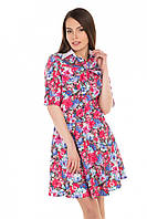 """Платье-рубашка """"Цветочный принт"""" джинс"""