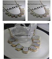 """Ожерелье """"Клер"""" нарядное с кристаллами, серебристое."""