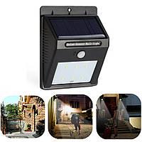 Светодиодный настенный светильник, фонарь, бра с датчиком движения на солнечной батареи 6 LED, фото 1