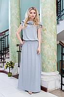 Платье в пол с капюшоном светло серое