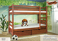 """Кровать двухъярусная из бука с ящиками """"Кенгуру"""" ( Мебель-Сервис )"""