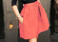 Модная женская юбка с карманами персиковый
