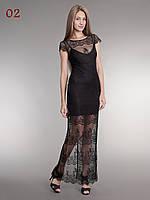 Длинное гипюровое платье черное, фото 1
