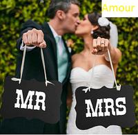"Таблички  для фотосессии "" Mr and Mrs"""