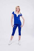 Костюм спортивный женский с бриджами синий, фото 1