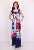 Длинный летний сарафан модного кроя большие размеры абстракция-2