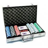 Набор для игры в покер в металическом кейсе: 2 колоды карт,300 фишек
