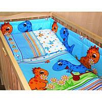 Комплект постельного белья в детскую кроватку Динозавр (простынь на резинке)  хлопок ТМ Медисон Украина