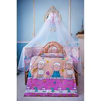 Комплект постельного белья в детскую кроватку Барашек (простынь на резинке)  хлопок ТМ Медисон Украина