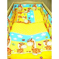 Комплект постельного белья в детскую кроватку Жираф (простынь на резинке)  хлопок ТМ Медисон Украина