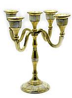 Подсвечник из бронзы на 5 свечей с перламутром