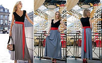 Летнее платье в пол с красным поясом. (Арт. 325АР)