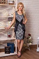 Платье 853 чёрное с белым узором нарядное облегающее по фигуре подчёркивающее талию декорировано бантом