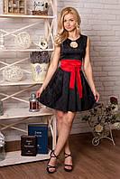 Платье 850 чёрное с красным поясом нарядное из жаккарда с облегающим лифом и пышной юбкой  с вырезом каплей