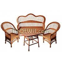 """Комплект плетеной мебели """"Простой"""" (диван+стол+2 кресла)"""