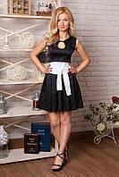 Платье 850 чёрное с белым поясом жаккардовое нарядное с облегающим верхом и пышной юбкой  с вырезом капля