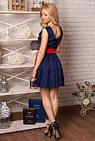 Платье 850 темно синее с красным поясом нарядное  из жаккарда приталенное с пышной юбкой