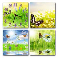 Часы модульные картина - Цветы-Бабочки (М 4), купить настенные часы