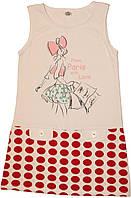 Платье девочке белое в красный горох, 128 см, 134 см, 140 см, ТМ Фламинго