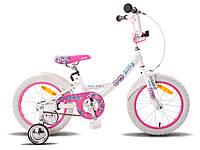 """Детский велосипед 16"""" PRIDE Kelly бело-розовый глянцевый"""