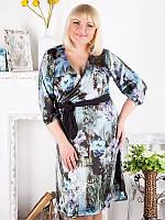 Строгое летнее платье больших размеров на запах