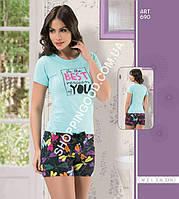 """Женская пижама, домашний костюм футболка и шорты Maranda 690 """"Стрекозы"""""""