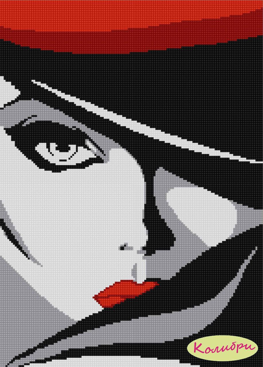 Схема вышивки женщина в красной шляпе 38
