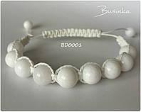 Браслет шамбала белый из натуральных камней нефрит BD0001