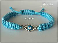 Браслет Шамбала (Shamballa) на голубой нити с глазиком BD0004