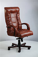 Кресло для руководителя Кинг Люкс MB вишня мадрас табак, вышивка Standart