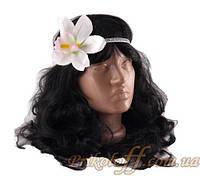 """Резинка на голову  """"Орхидея"""", белая"""