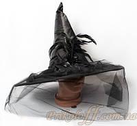 Колпак ведьмы, черный с перьями и вуалью