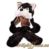 """Шапка-маска """"Коричневый щенок"""", с ушами-варежками"""