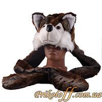 """Шапка-маска """"Бурый волчонок"""", с ушами-варежками"""